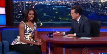 Stephen Colbert Helps Michelle Obama Promote Her 'Let Girls Learn' Campaign