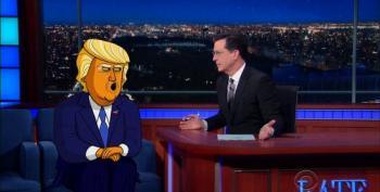 Cartoon Donald Trump Tells Stephen Colbert Who Started It