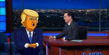 Cartoon Donald Trump Returns To Stephen Colbert's Show