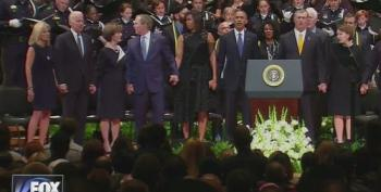 George Bush Dances At Dallas Memorial Fallen Police
