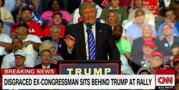Disgraced Congressman Sits Behind Donald Trump At Rally