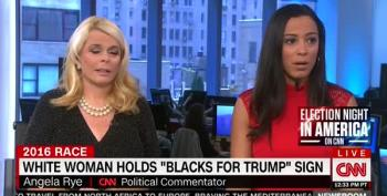 Betsy McCaughey Tries To Explain White Lady Holding 'Blacks For Trump' Sign