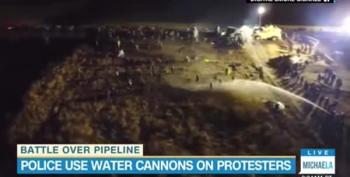 North Dakota Pipeline Protest - Police Use Water Cannons In Frigid Weather