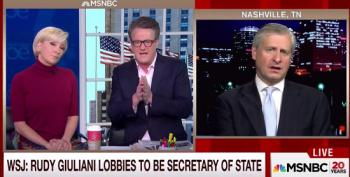 Morning Joe Crew Mocks Rudy Giuliani's Attempts At Self Promotion For SOS