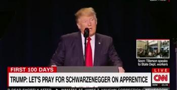 Trump Prays For Celebrity Apprentice Ratings At Prayer Breakfast UPDATE: Arnold Responds!