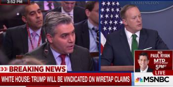CNN's Jim Acosta And Sean Spicer Battle Over The Ever Changing Narrative By Trump On Wiretapping