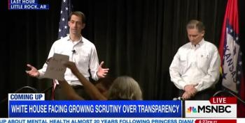 Tom Cotton Booed Loudly For Pretending Trump Can't Release His Tax Returns