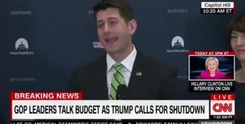 Paul Ryan Tries To Laugh Off Trump's 'Shutdown' Tweets