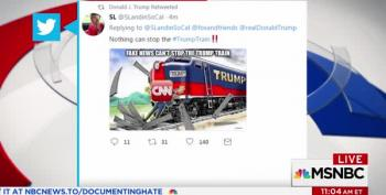 President Retweets And Then Deletes Trump Train Running Over CNN Reporter
