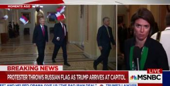 'Treason!' Activist Ryan Clayton Tosses Russian Flags At Trump And McConnell