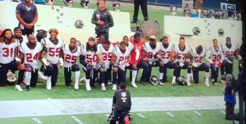 Houston Texans Players Kneel Down During National Anthem