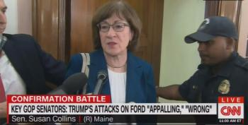 Susan Collins And Jeff Flake Denounce Trump Bashing Dr. Christine Blasey Ford