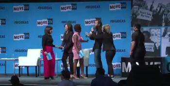 Man Charges The Stage To Take The Mic From Kamala Harris