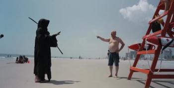 Grim Reaper Encounters Trump Fan On Florida Beach
