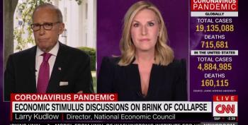 Larry Kudlow Accuses CNN's Poppy Harlow Of 'Nitpicking' For Fact-Checking His Coronavirus Lies