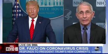 Dr Fauci Forced To Beat Back Trump Claiming Only 9000 People Died From COVID