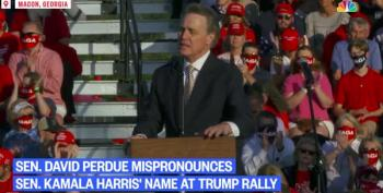 Sen. David Perdue Deliberately Mispronounces Sen. Kamala Harris' Name At Trump Rally
