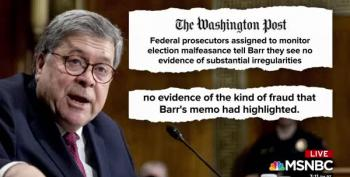 DOJ Prosecutors Tell Barr No Evidence Of Election Fraud