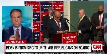 Jake Tapper Mocks Rudy Giuliani's Hastily Arranged Four Seasons Total Landscaping Press Conference