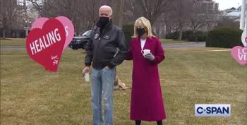 Dr. Jill Biden Unveils Valentine's Day Display On White House North Lawn
