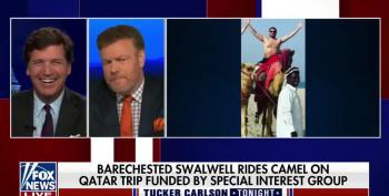 Tucker Carlson Goes Homoerotic On Eric Swalwell's Camel Ride In Qatar