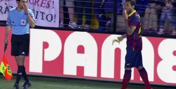 Soccer Star Eats Banana Thrown At Him