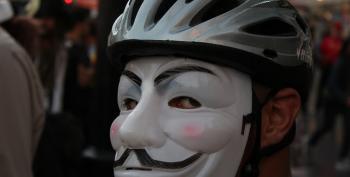 Ferguson Protester Wearing Guy Fawkes Mask Smashes Fox News Camera