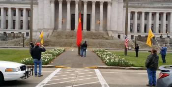 Protesters Cheer With Scheduled Lowering Of Chinese Flag At Washington State Capitol