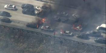 Brush Fire Jumps Freeway In California And Sets Cars Ablaze
