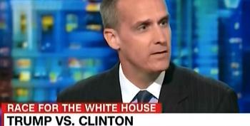 CNN's Corey Lewandowski Tries To Hide His Face While Sneaking Off Trump's Plane