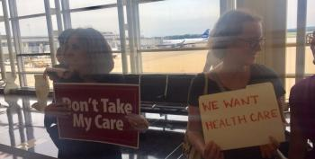 Protesters Greet Fleeing Senators At DCA Over Trumpcare