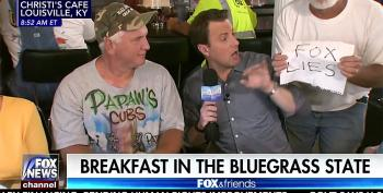 Fox And Friends Abruptly Ends Segment When Patron Holds 'Fox Lies' Sign