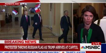 'Treason!': Activist Throws Russian Flags At Trump And McConnell In Senate Hallway