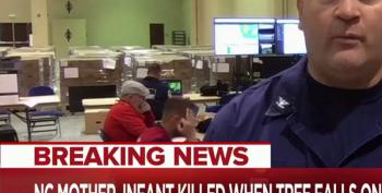 Coast Guard Member Makes Sure He Is On Camera Before Flashing White Power Sign