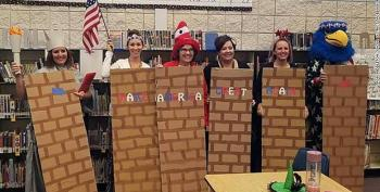 Idaho Elementary School Teachers Costume Themselves As MAGA Wall