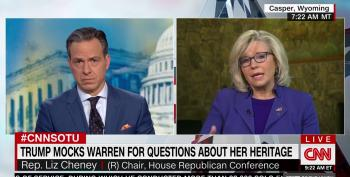 Liz Cheney Excuses Trump's 'Joke' About Genocide By Calling Warren A 'Laughing Stock'