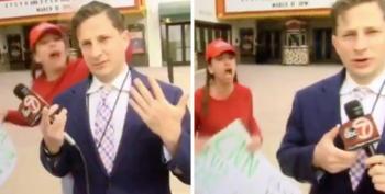 FAKE NEWS! Screams MAGA-wearing Trump Supporter At Reporter