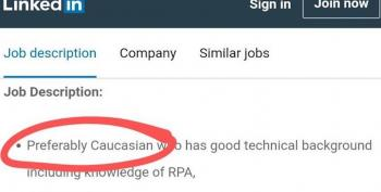 Job Posting: 'Preferably Caucasian'