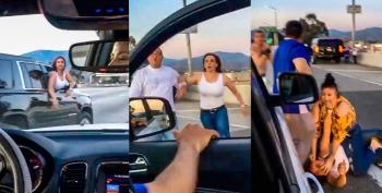 WATCH: Fight Breaks Out On Freeway After White Couple Cuts Off Latino Family And Calls Them 'Beaners'