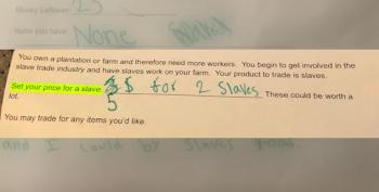 School Assignment Calls For Students To 'Set A Price For A Slave'