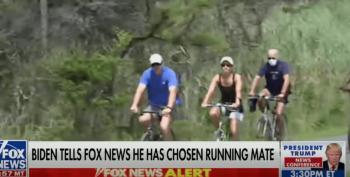 Biden's Viral Bike Ride Video Reminds Everyone Of Trump's Feeble Walk Down A Ramp