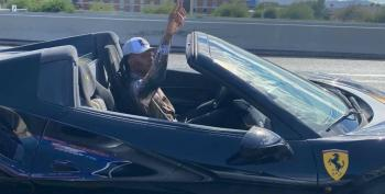 Ferrari-Driving NFL Player DeAndre Hopkins Flips Off Trump Caravan