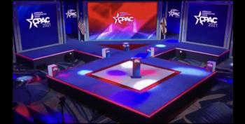 CPAC 2021 Stage Shaped Like Nazi Symbol