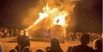 Utah Ex-Cop Narrates Video Of Giant Vaccine Needle Burning In Effigy