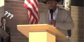 Ammon Bundy Declares He/His Pronouns As Confused Cardboard Reagan Looks On