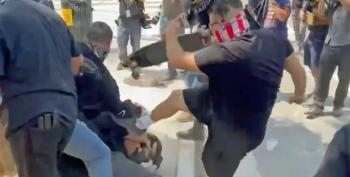 Proud Boys Attack Reporters At L.A. Anti-Vaxx Rally