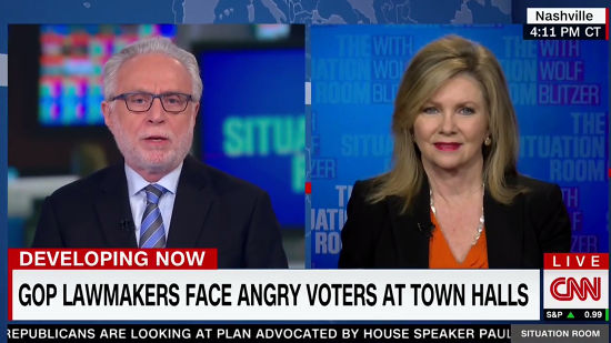 Marsha Blackburn Lies To Wolf Blitzer About 'Outsiders' At Her Town Hall