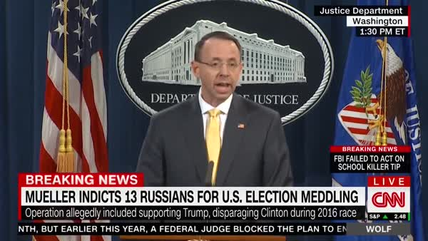 Rosenstein Announces Indictments For Election Interference ...