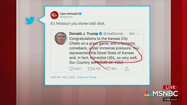 Claire McCaskill Calls Trump A 'Stone Cold Idiot' After He Congratulates Kansas' Super Bowl Win