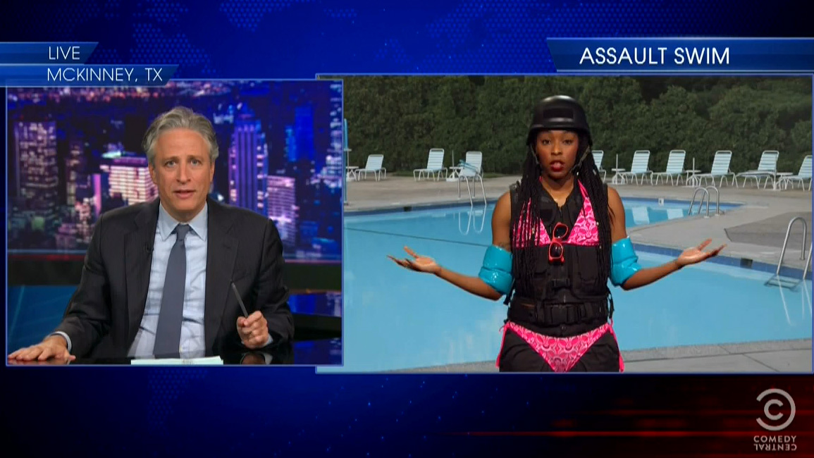 the daily show finds progress in mckinney texas pool party